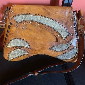 Tooled leather snakeskin cross body bag purse